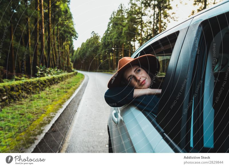 Woman hanging out of car in forest Car Window hang out Forest Green Dream Hat pretty Street Asphalt Nature Environment Natural Seasons Plant Leaf Light Fresh