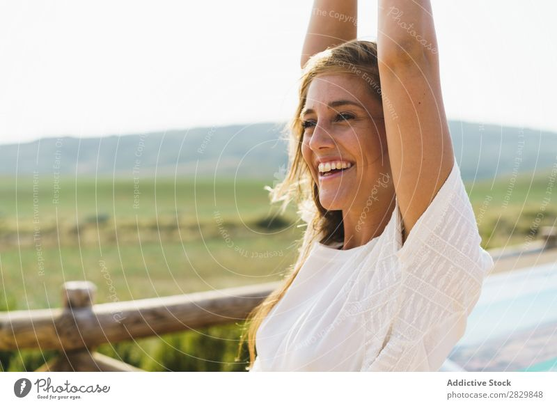Pretty smiling woman in countryside Woman Smiling Landscape Happy Beautiful Portrait photograph Nature