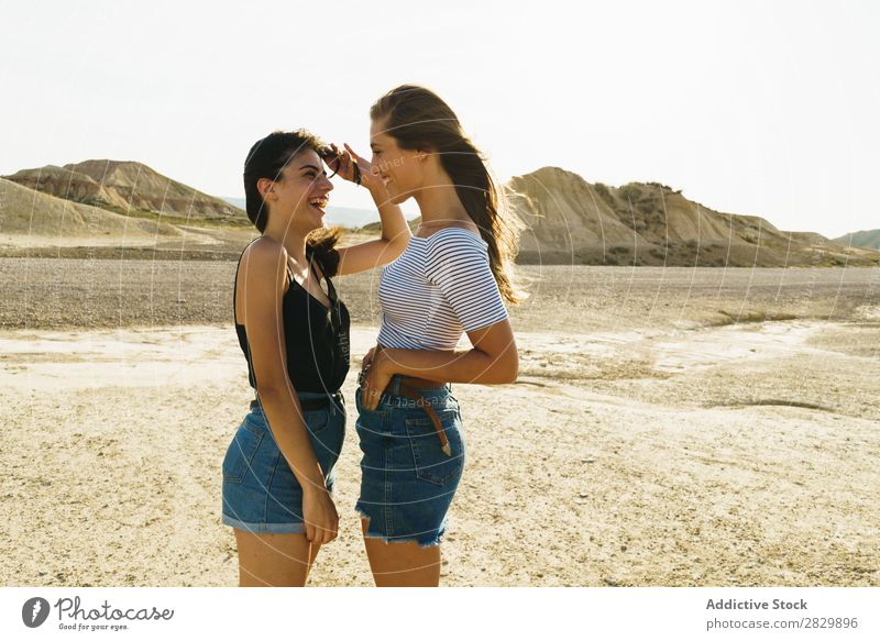 Women posing in sandy hills Woman Posture Nature Smiling Cheerful Happy Youth (Young adults) Beautiful