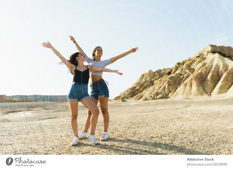 Women posing in sandy hills Woman Posture Nature pretty eyes closed Hands up! Smiling Cheerful Happy Youth (Young adults) Beautiful Natural Beauty Photography
