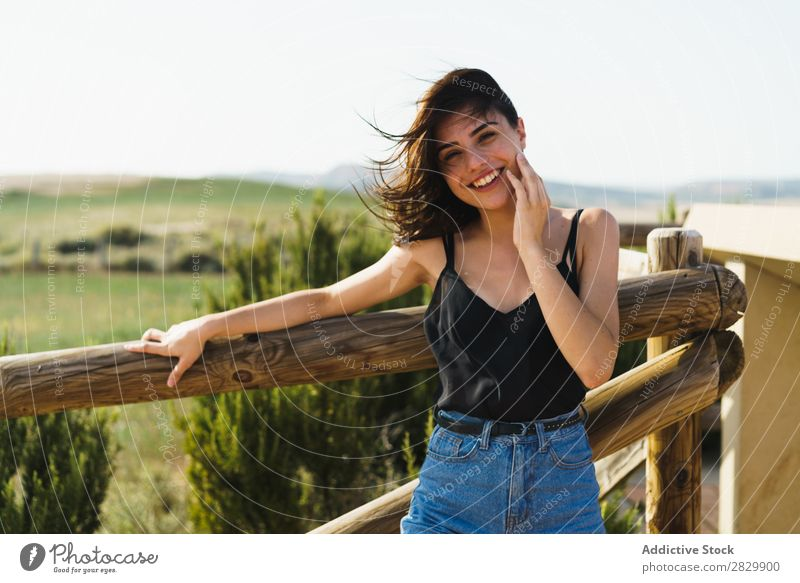 Pretty smiling woman in countryside Woman Smiling pretty Landscape Happy Beautiful Portrait photograph Nature Attractive Cheerful Human being Lifestyle