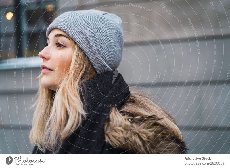 Stylish sensual woman on snowy street Woman Style Street fashionable To enjoy Youth (Young adults) pretty Snow Winter Cold Cool (slang) Fashion warm clothes