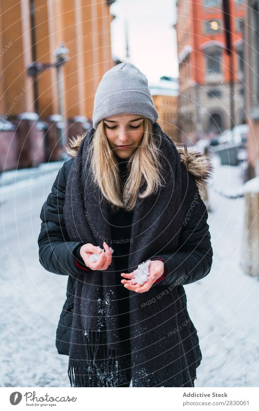 Woman holding snow Style Street Hand Snow Hold fashionable To enjoy Youth (Young adults) pretty Winter Cold Cool (slang) Fashion warm clothes City Model