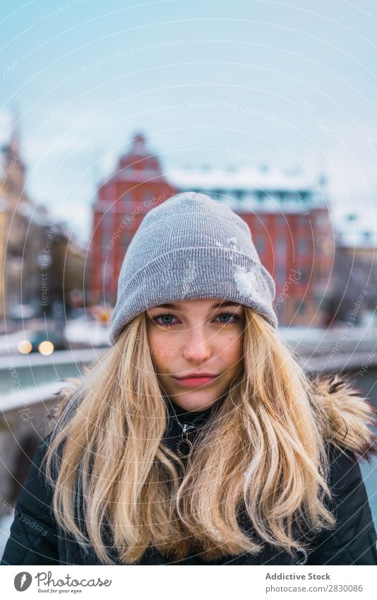 Sensual young woman in winter street Woman Style Street fashionable To enjoy Youth (Young adults) pretty Snow Winter Cold Cool (slang) Fashion