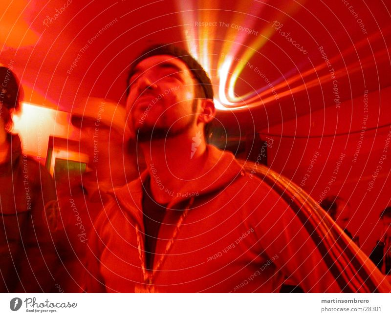 disc jokey Disco Club Red Disco ball Disc jockey Reflection Night life Man Party Party goer