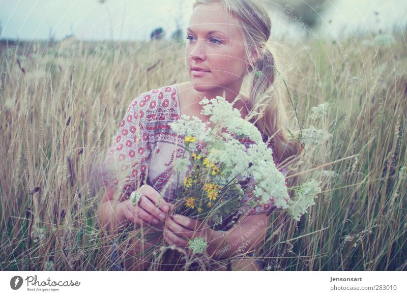 Blond girl on a flower meadow Lifestyle Harmonious Well-being Contentment Senses Relaxation Fragrance Trip Freedom Summer Summer vacation Human being Feminine