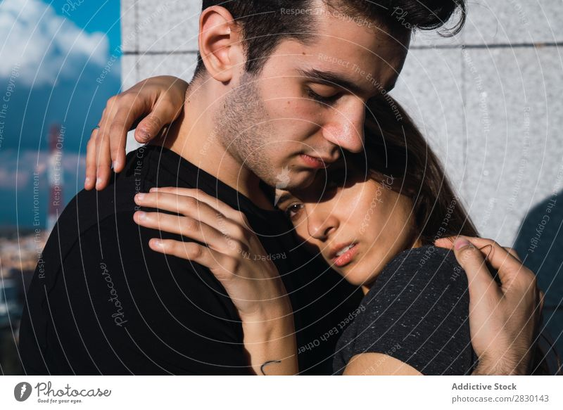 Couple embracing on balcony Home Together Cuddling Embrace Balcony Human being Happy Love House (Residential Structure) Man Woman Lifestyle 2
