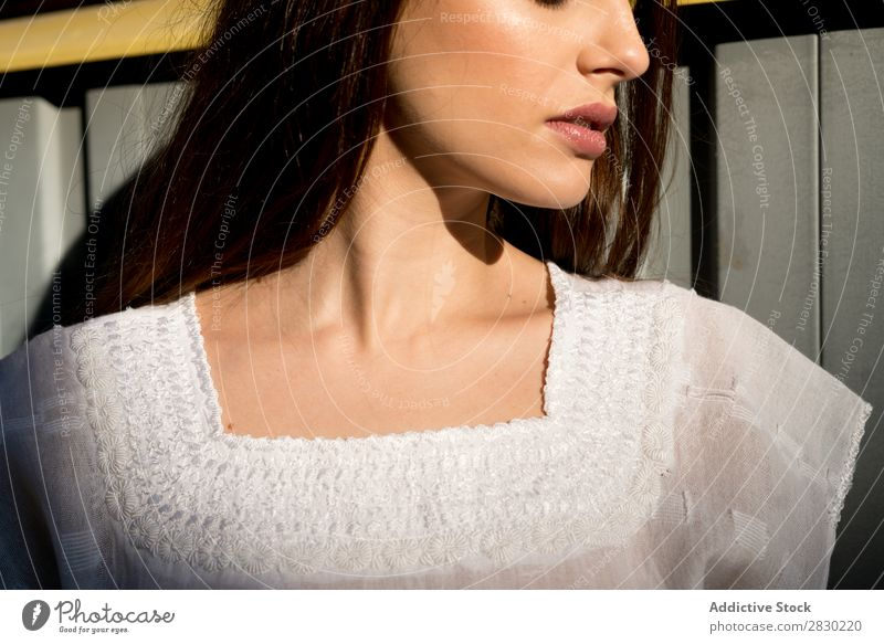 Neck of stylish woman Woman Style Posture Looking away White Dress Easygoing pretty Beautiful Fashion Model Girl Youth (Young adults) Lady Clothing Human being