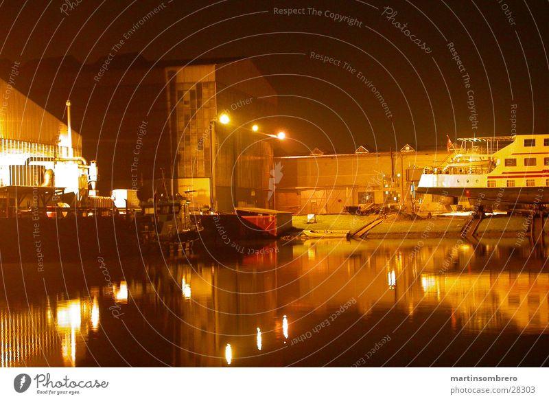 winter harbour Long exposure Night Watercraft Light Architecture Harbour docs industrial romanticism