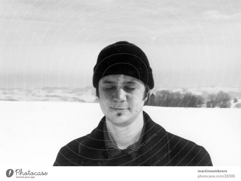 portrait in the snow Man Horizon Black & white photo Snow hard light Sky half-portrait