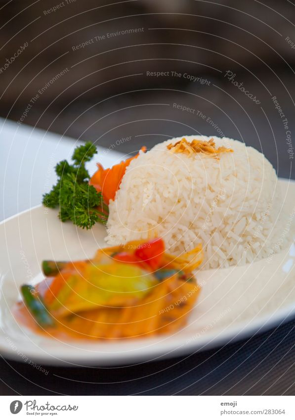 Asia Nutrition Lunch Dinner Business lunch Vegetarian diet Asian Food Plate Exotic Delicious Rice Colour photo Exterior shot Close-up Deserted Copy Space top