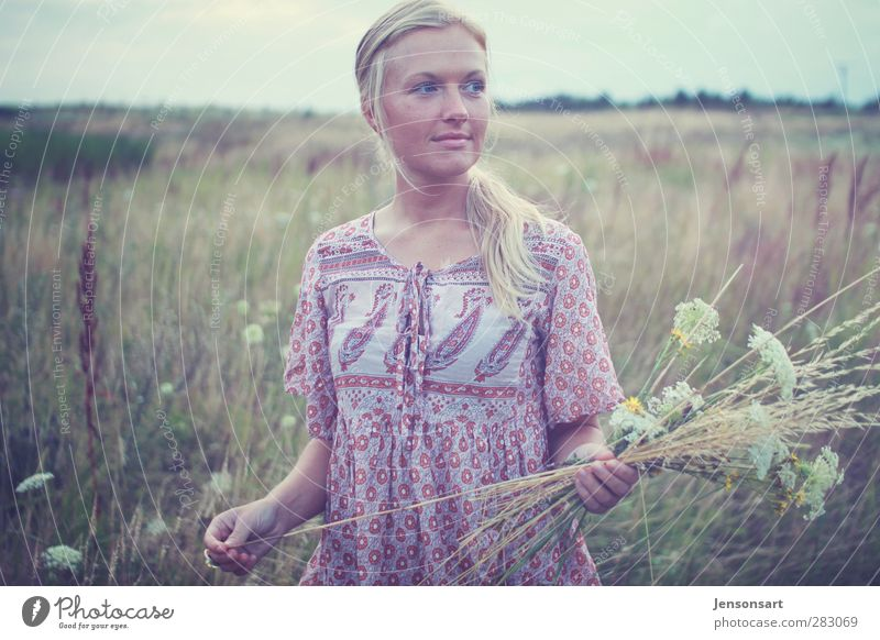 Blond girl on a flower meadow Human being Feminine Young woman Youth (Young adults) 1 18 - 30 years Adults Nature Summer Flower Meadow Blonde Bangs To hold on