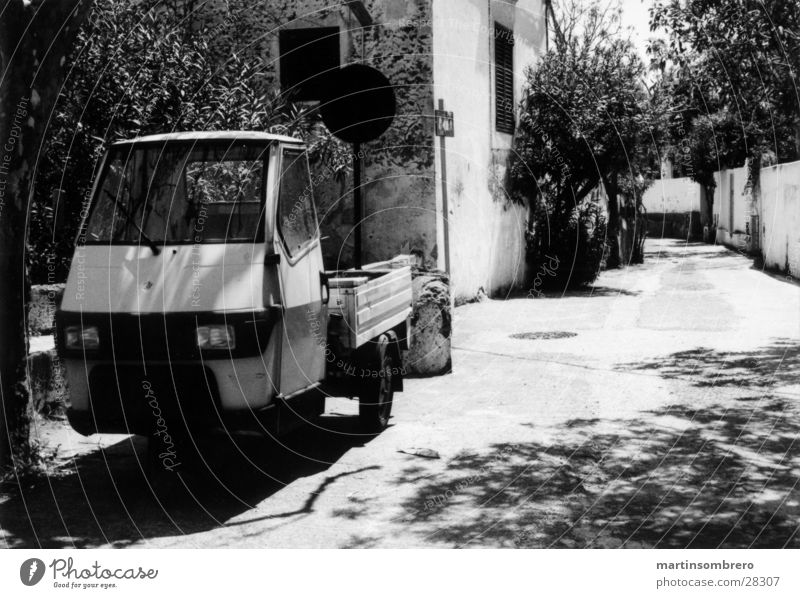 stromboli Alley House (Residential Structure) Romance Poverty South Italy Stromboli Driving Transport Street Black & white photo Car tricycle car moped car