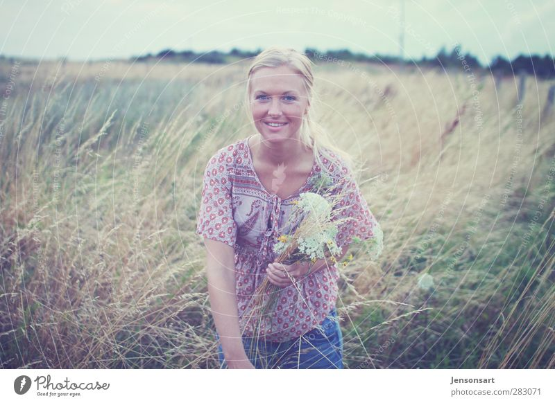 Blond girl in a meadow Human being Feminine Young woman Youth (Young adults) 1 18 - 30 years Adults Nature Summer Flower Meadow Blonde Braids Relaxation