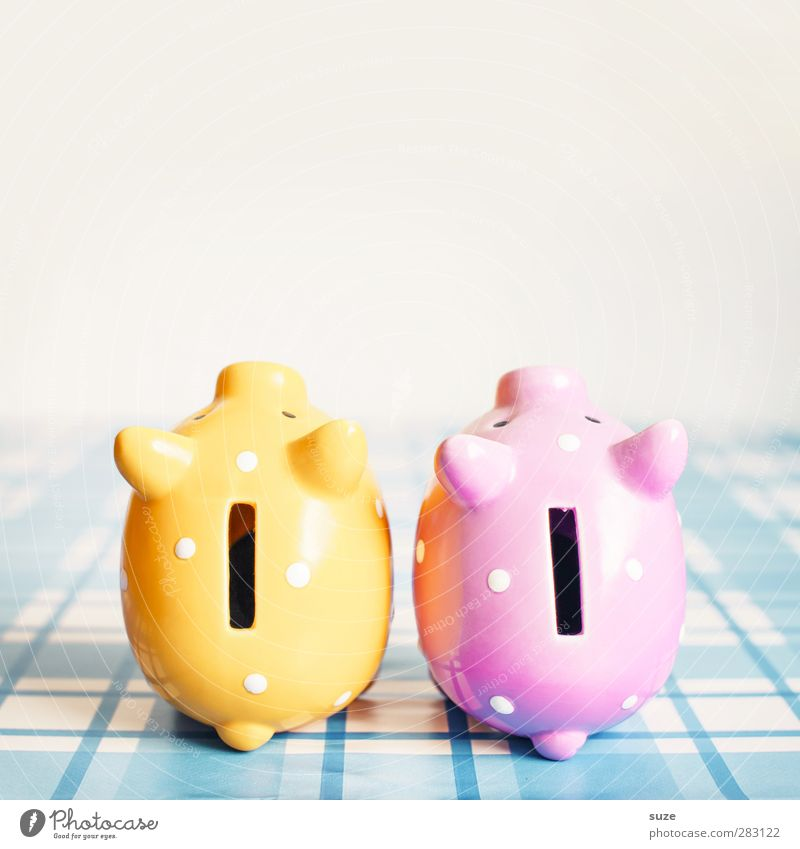 Blue Yellow Happy Small Funny Pink Poverty Design Lifestyle In pairs Decoration Shopping Cute Money Plastic Kitsch