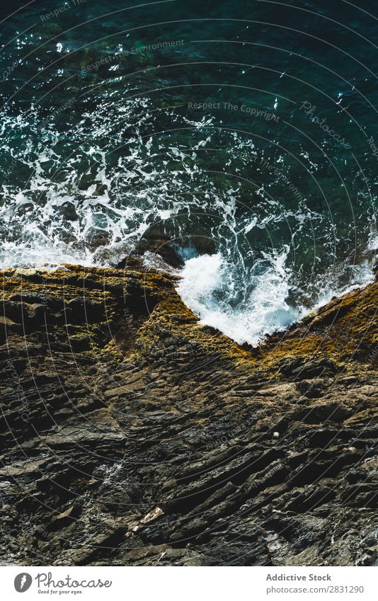 Rough rocks and waves Coast Rock Waves Tropical Ocean Powerful Exotic Energy Foam Deserted Turquoise Cliff Summer Beach Tide layered Nature tropic Idyll White