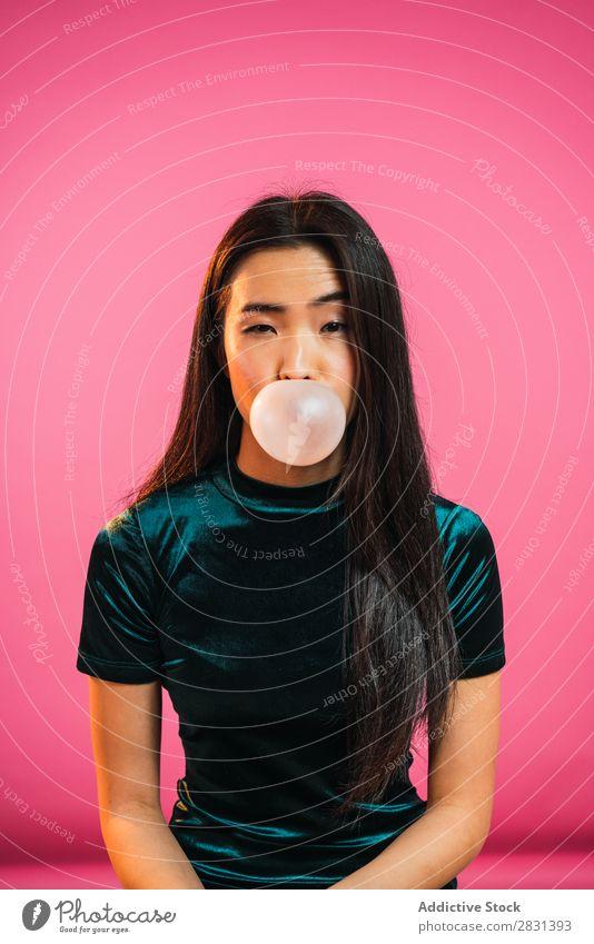 Asian woman blowing gum bubble Woman Portrait photograph Youth (Young adults) Beautiful Gum Chew Bubble Blow