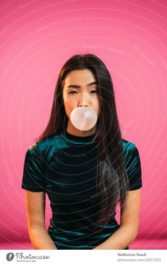 Asian woman blowing gum bubble Woman pretty Portrait photograph Youth (Young adults) Beautiful asian Gum Chew Bubble Blow Adults Posture Smiling