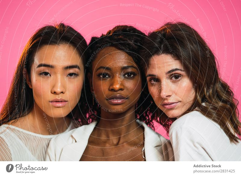 Cheerful multiracial women friends posing Woman pretty Portrait photograph Youth (Young adults) Friendship Black asian diversity multiethnic