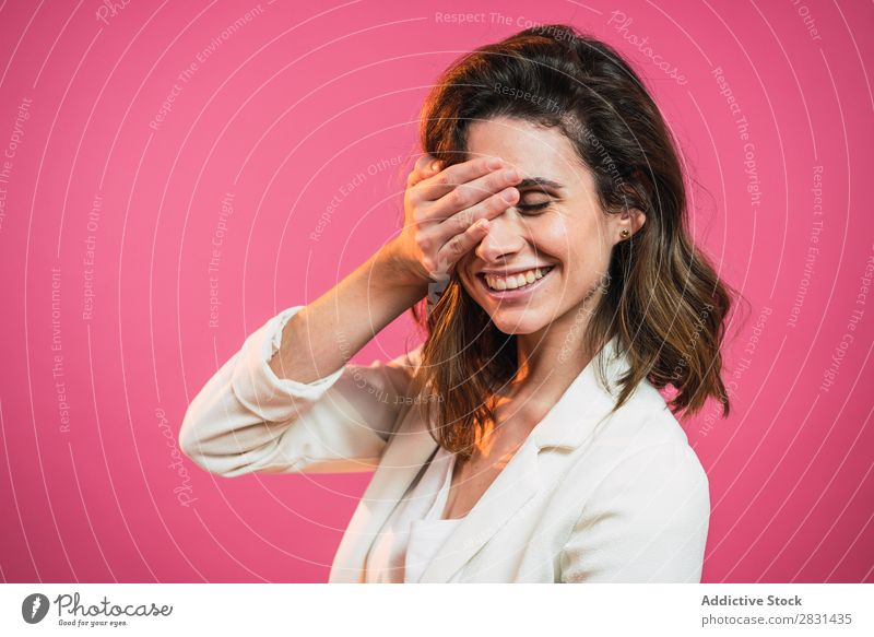 Delighted woman with eyes closed Woman pretty Portrait photograph Youth (Young adults) delighted emotional Beautiful Adults Posture Smiling Beauty Photography