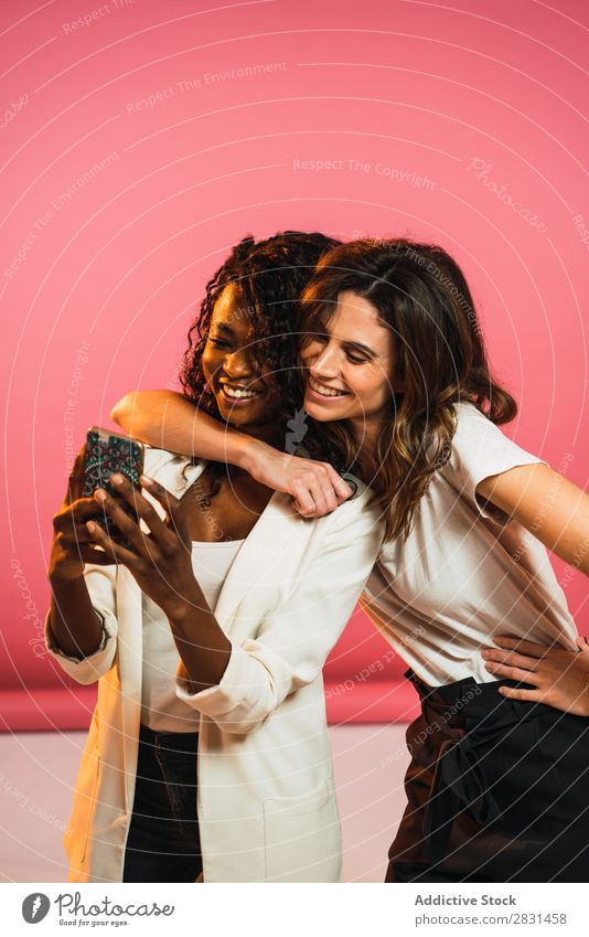 Cheerful women posing for selfie Woman pretty Portrait photograph Youth (Young adults) Friendship Selfie PDA Black diversity multiethnic Mixed race ethnicity