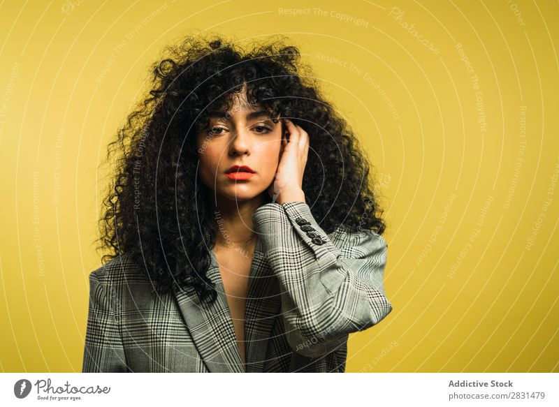 Curly woman in studio Woman pretty Portrait photograph Youth (Young adults) Hair Light Equipment Studio shot Brunette Looking into the camera Beautiful Adults