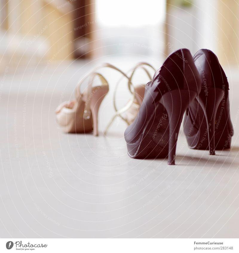 Black Window Feminine Eroticism Fashion Footwear Gold Stand In pairs Esthetic Joie de vivre (Vitality) Passion Hallway Lust Beige Corridor