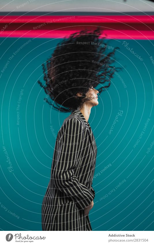Unrecognizable curly woman shaking hair Woman pretty Portrait photograph Youth (Young adults) Curly Hair Brunette Joy Style Beautiful Adults Posture Smiling