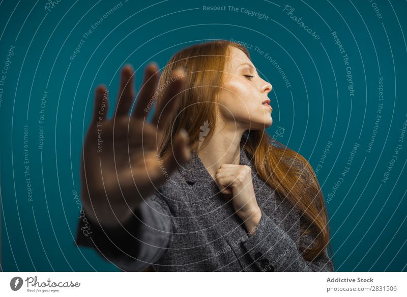 Attractive woman showing hand Woman Portrait photograph Youth (Young adults) Stop Gesture Hand Indicate Sign