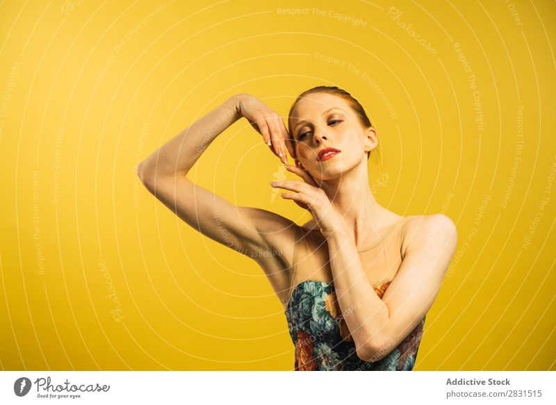 Young woman dancing in studio Woman pretty Portrait photograph Youth (Young adults) To enjoy Dance Posture Beautiful Adults Smiling Beauty Photography