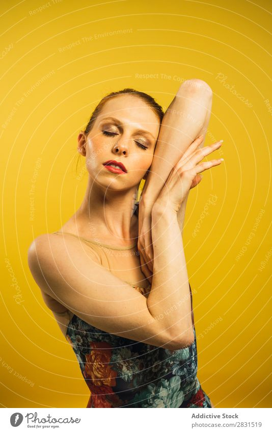 Young woman dancing in studio Woman pretty Portrait photograph Youth (Young adults) To enjoy Dance eyes closed Posture Beautiful Adults Smiling