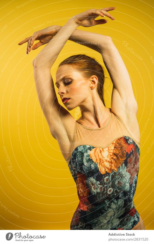 Young woman dancing in studio Woman Portrait photograph Youth (Young adults) To enjoy Dance Posture Beautiful Adults