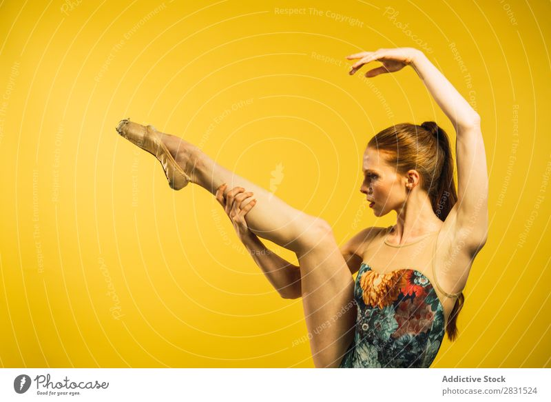 Ballet dancer with leg up Woman pretty Portrait photograph Youth (Young adults) Dance Stand Beautiful Adults Posture Smiling Beauty Photography Attractive Model