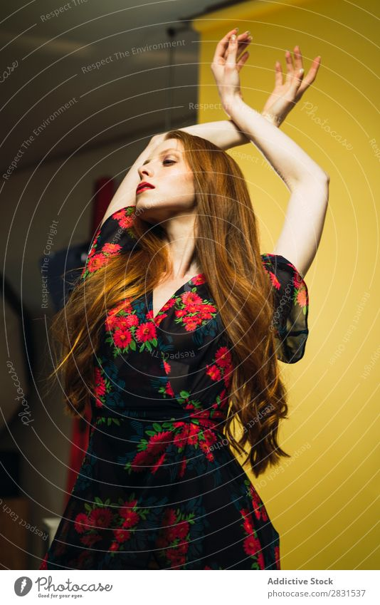 Pretty woman dancing in studio Woman pretty Portrait photograph Youth (Young adults) Beautiful bending Back Hands up! Dance Dress Adults Posture Smiling