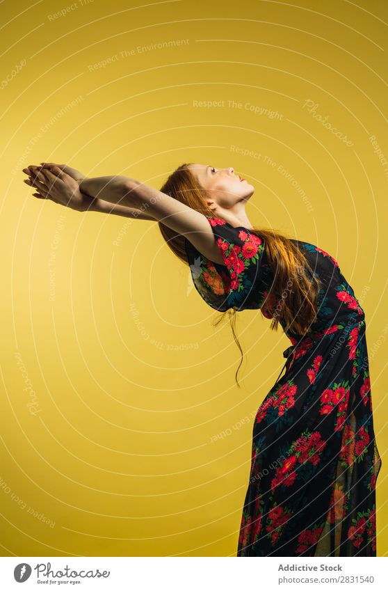 Pretty woman bending in studio Woman Portrait photograph Youth (Young adults) Beautiful Back Hands up! Dance Dress