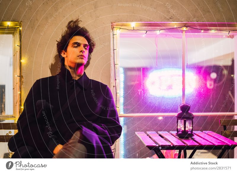 Man at illuminated window handsome City Street Purple Illumination Youth (Young adults) Town Lifestyle Easygoing Fashion Style Adults Modern Human being