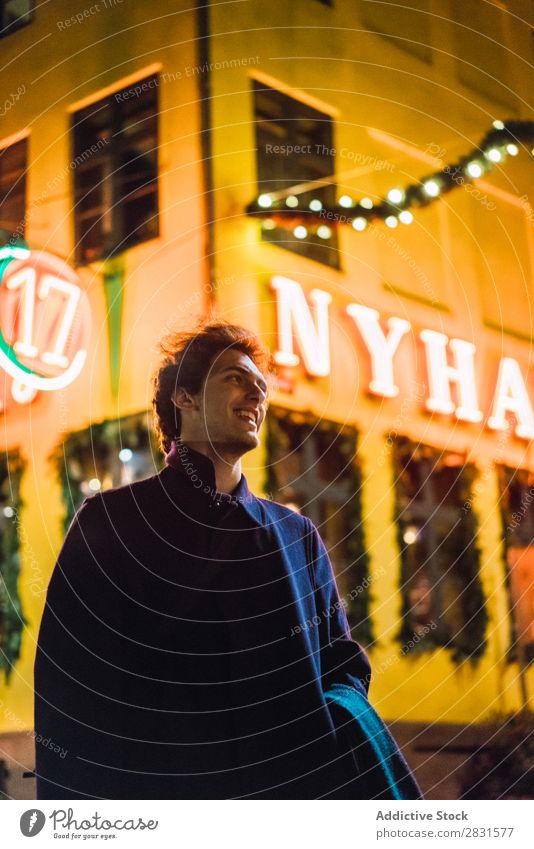 Cheerful man on street at night Man handsome City Street Night Happy Laughter Youth (Young adults) Town Lifestyle Easygoing Fashion Style Adults Modern