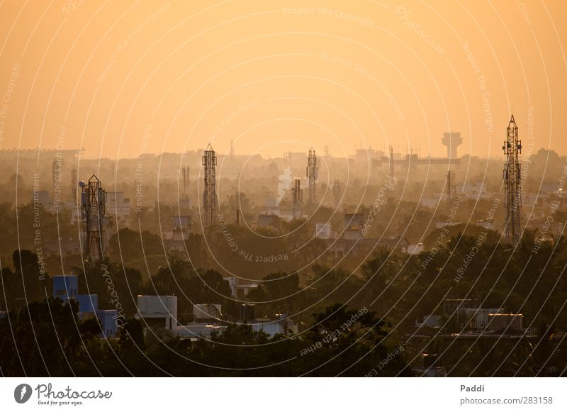 Sunset in Chennai Overpopulated House (Residential Structure) Infinity Madras Tamil Nadu India Contrast Dusk Shadow Horizon Smog Colour photo Exterior shot