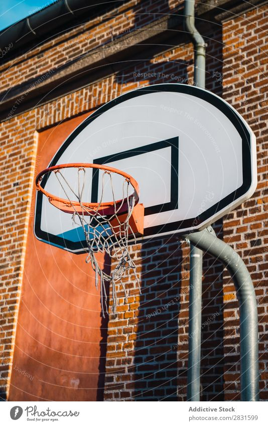 Basketball ring on street Ring Street hoop Sports Playing Court building Equipment Board Net Relaxation Round Goal Height Action Metal Stadium Playground