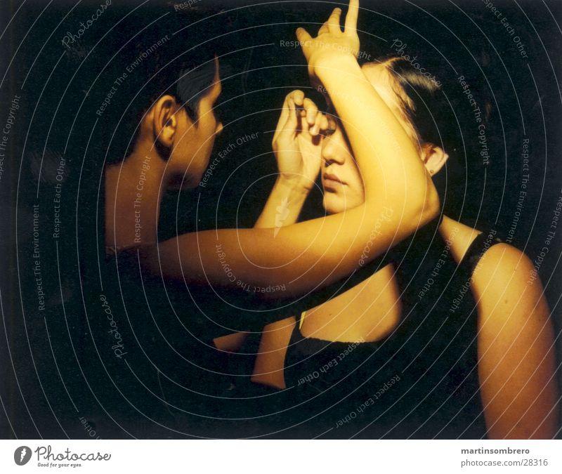 make up Apply make-up Hand Dark two women soft light Face
