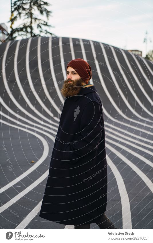 Man standing at asphalt hill handsome City Beard Asphalt Wrinkle Hill Waves Street Youth (Young adults) Town Lifestyle Easygoing Fashion Style Adults Landmark