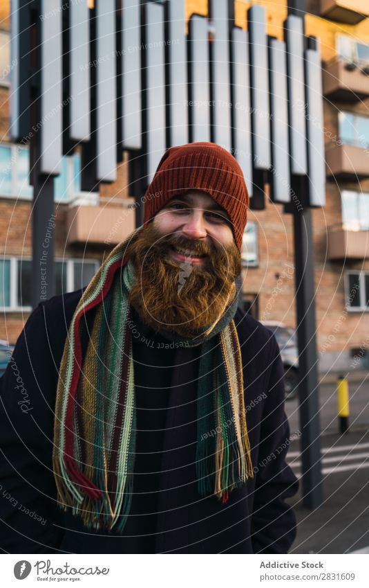 Cheerful bearded man on street Man handsome Smiling Beard Looking into the camera City Street Youth (Young adults) Town Lifestyle Easygoing Fashion Style Adults
