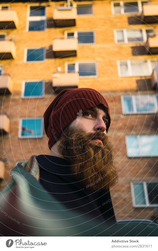 Cheerful bearded man on street Man handsome Smiling Beard City Street Youth (Young adults) Town Lifestyle Easygoing Fashion Style Adults Modern Human being