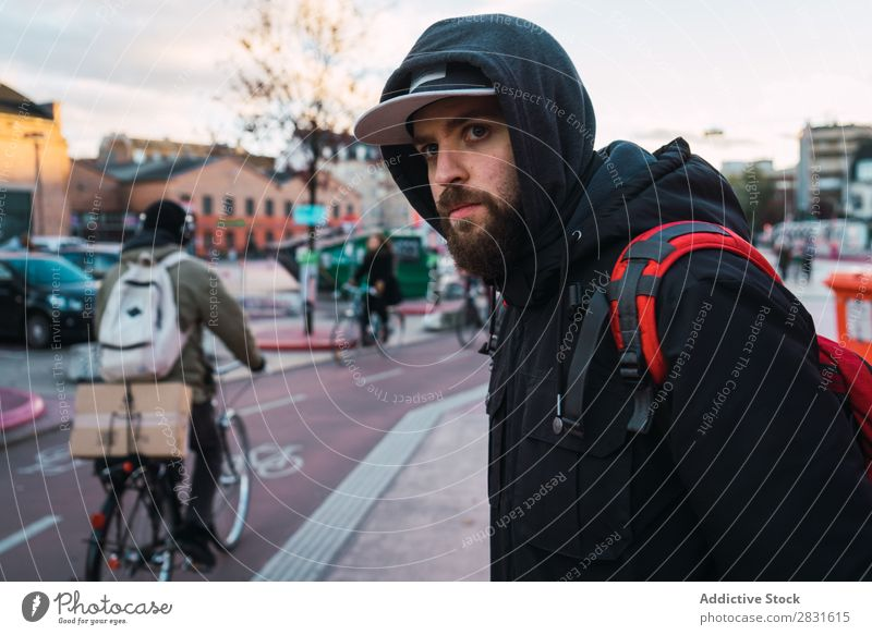 Cheerful bearded man on street Man handsome City Street Youth (Young adults) Town Lifestyle Easygoing Fashion Style Adults Modern Human being Hip & trendy