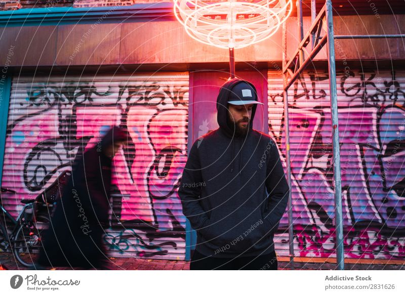 Man posing under neon circle handsome City eyes closed Neon Stand Street Youth (Young adults) Town Lifestyle Easygoing Fashion Circle Style Adults Modern