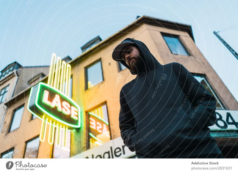 Man standing on urban street handsome City Posture Stand Street Youth (Young adults) Town Lifestyle Easygoing Fashion Style Adults Modern Human being