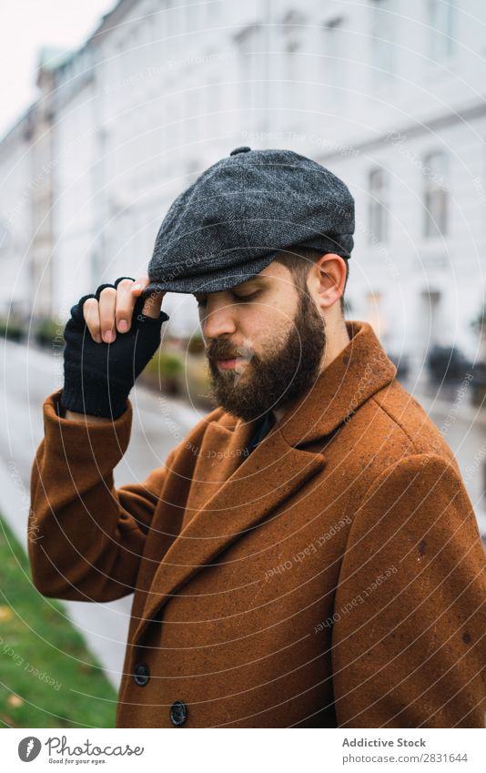 Stylish adult man Man handsome City Style Coat Cap Hat Street Youth (Young adults) Town Lifestyle Easygoing Fashion Adults Modern Human being Hip & trendy