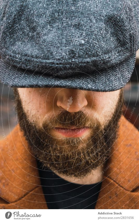 Bearded man in coat Man handsome City Style Coat Cap Hat Street Youth (Young adults) Town Lifestyle Easygoing Fashion Adults Modern Human being Hip & trendy