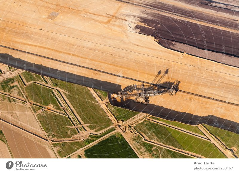 open pit lignite mine Energy industry Coal power station Environment Landscape Brown Green Excavator Lignite dig Soft coal mining Pit Hollow open pit mining