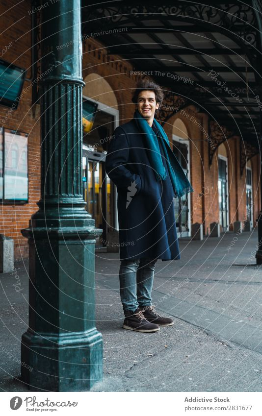 Young stylish man on station Man handsome City Street Station Railroad Passenger Wait Youth (Young adults) Town Lifestyle Easygoing Fashion Style Looking away